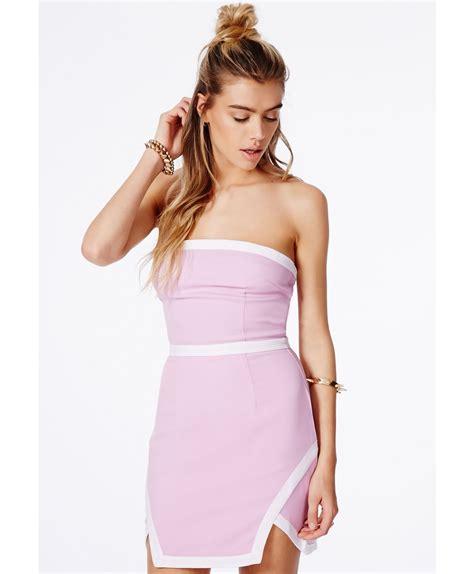Sale Dress Lissie missguided lissie lilac bandeau colour block mini dress in purple lilac lyst