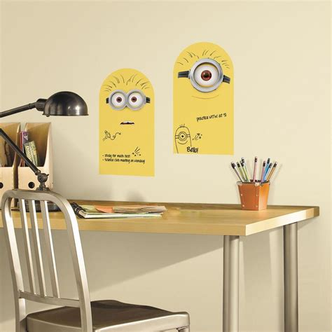 erase wall stickers roommates 5 in x 11 5 in minion erase peel and stick wall decal rmk2815scs the home depot