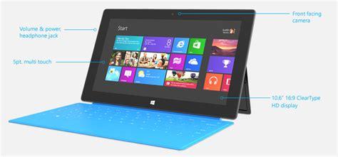 Spesifikasi Microsoft Surface ini dia spesifikasi dari surface rt dan surface dari microsoft