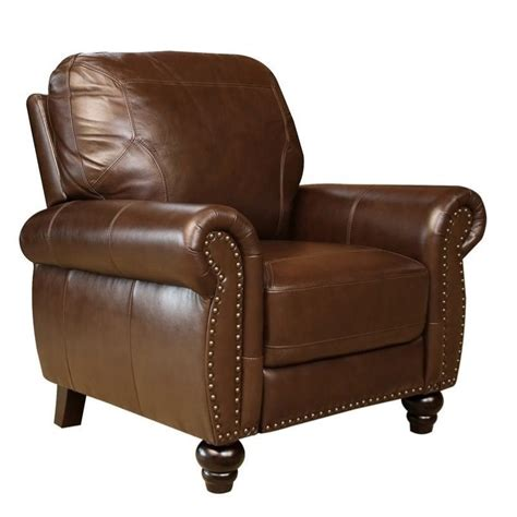 abbyson recliner abbyson living elm leather recliner in brown sk 24602 brn 1