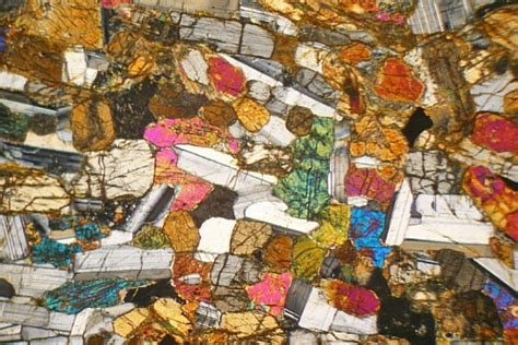 Hypersthene Thin Section by Layered Hypersthene Gabbro Scotland Thin Section Microscope Slide Geosec