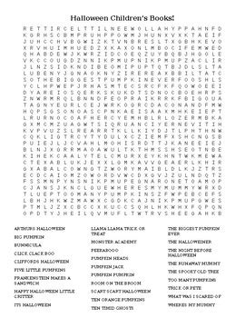 Halloween Children's Books Word Search by KYLibrarian   TpT