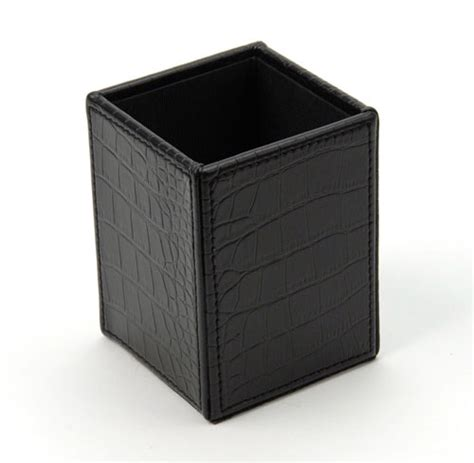 Faux Leather Desk Accessories Faux Leather Pencil Cup In Desk Accessories