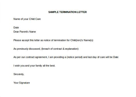 Child Care Letter Template Daycare Termination Letter Templates 10 Free Sle