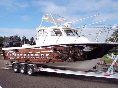 boston whaler boat wraps defiance boats quot gunslinger wrap quot on 29 ft fishing boat