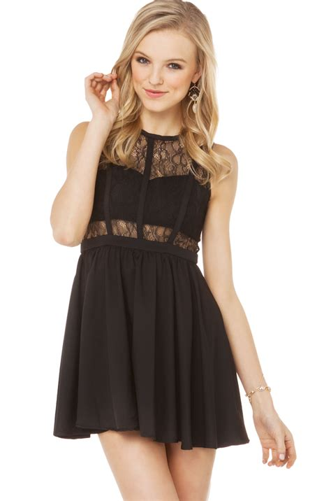 Bust Lace lace bust cut out dress in black in black lyst