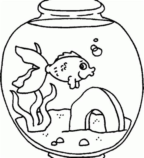 coloring pages  fishes  tank whith  cat coloring home