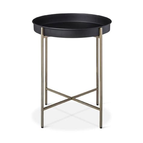tray accent table brass and black round foldable tray accent table