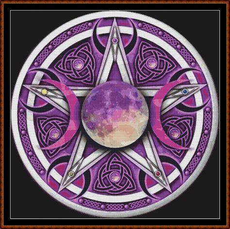 triple moon pentagram cross stitch click image to close