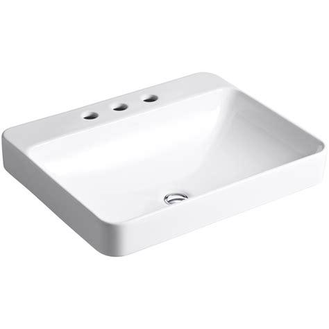Shop kohler vox white vessel rectangular bathroom sink and overflow at lowes com