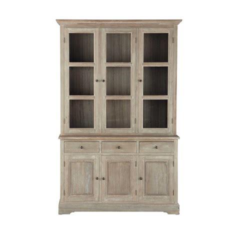 wood china cabinet greyed paulownia wood china cabinet w 130cm cavaillon