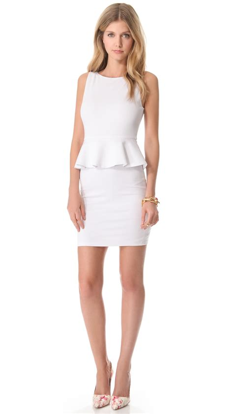 I New Peplum Desire In White tracey peplum dress in white lyst