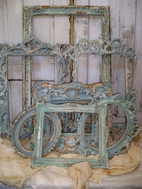 french blue ornate frame grouping shabby
