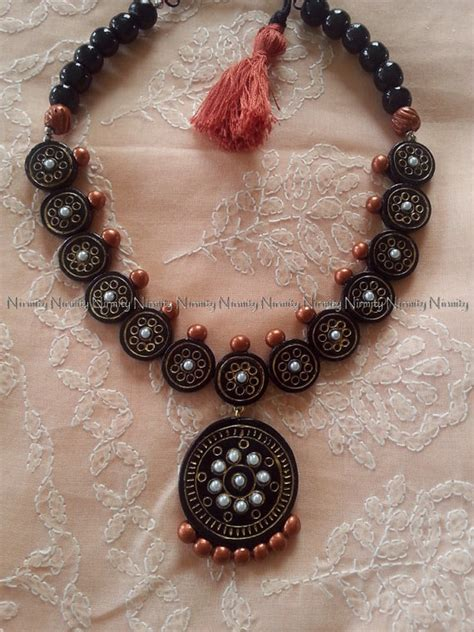 black and copper terracotta jewelry two tone temple jewelry