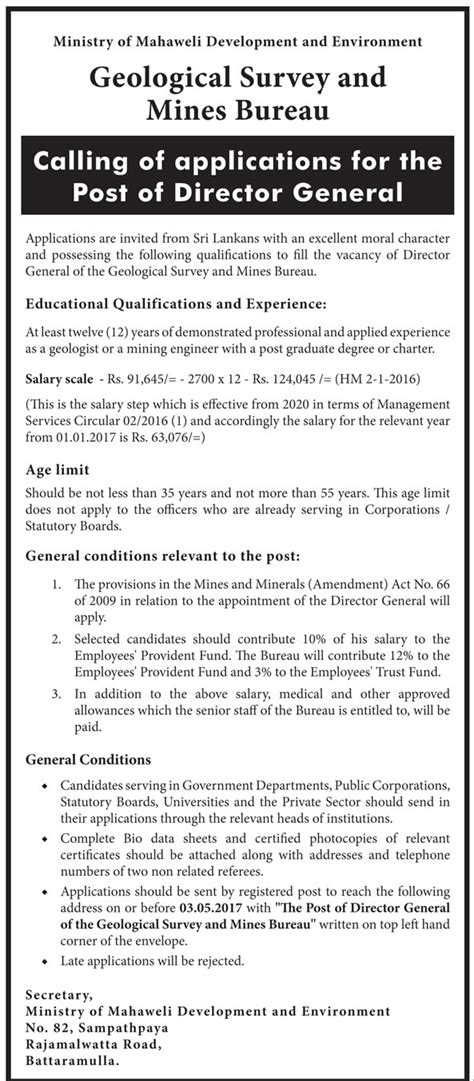 geological survey and mines bureau director general geological survey and mines bureau 2017