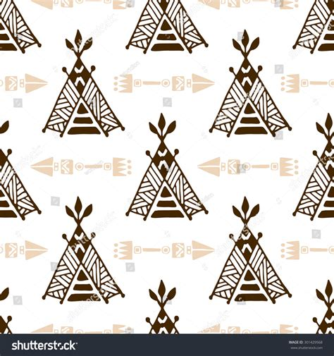 hand drawn seamless arrow pattern stock vector seamless wigwam pattern arrows handdrawn indian stock
