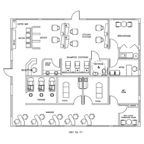 spa layout plan drawing salon spa design cad layout 1967 square foot