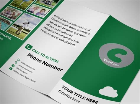golf membership tri fold brochure template
