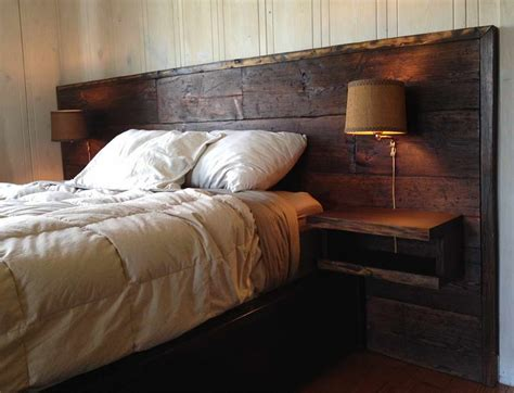 Reclaimed Wooden Headboards by Bedroom With Reclaimed Wood Headboard Wall L