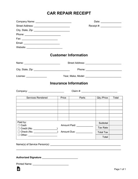 auto repair receipt template free car repair receipt template word pdf eforms