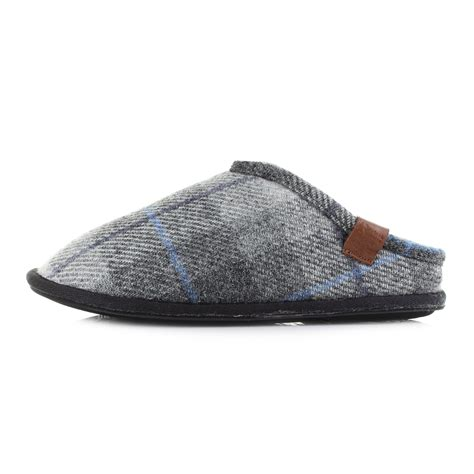 mens bedroom slippers mens bedroom athletic william grey charcoal check harris tweed slippers uk size ebay