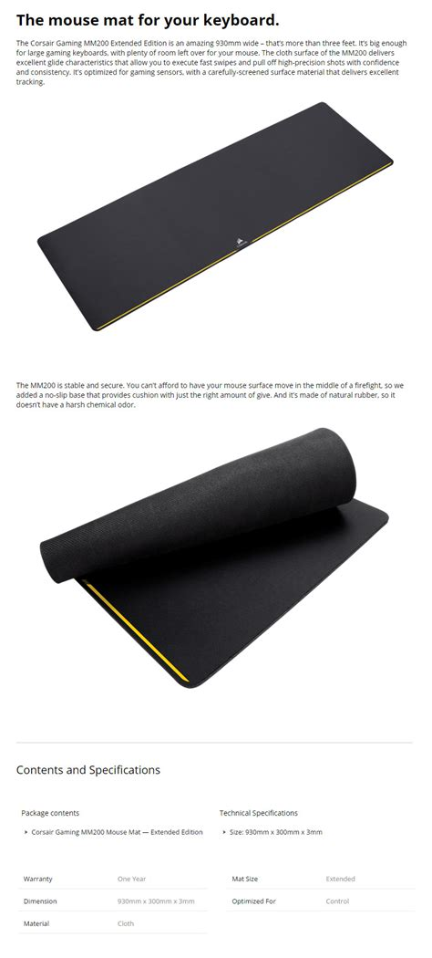 Corsair Gaming Mm200 Mouse Mat Extended Edition corsair gaming mm200 mouse mat extended edition ch