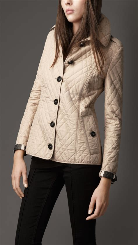 Burberry Leather Quilted Jacket by Burberry Leather Trim Quilted Jacket In Beige Trench Lyst
