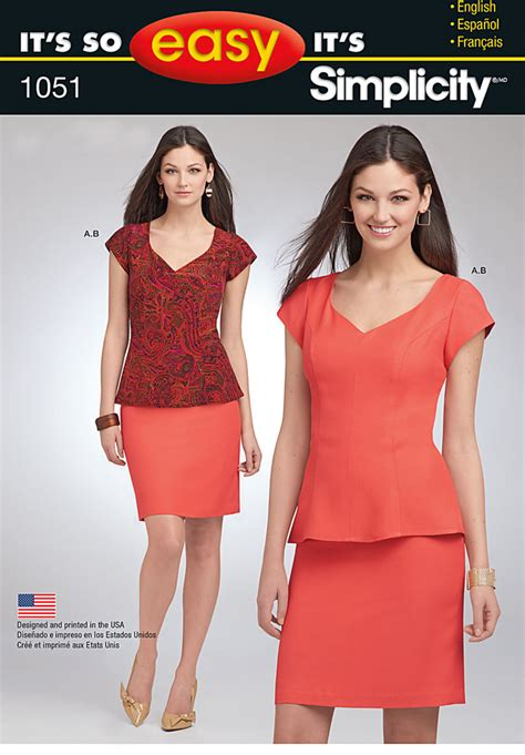 pattern review linda top simplicity 1051 it s so easy misses top and skirt