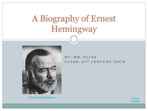 ernest hemingway biography wikipedia ppt a biography of ernest hemingway powerpoint