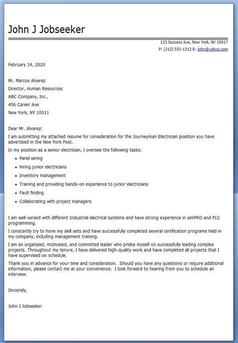 sample job application cover letter apprentice electrician