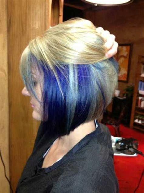 blonde bob black underneath distinct blue short hair ideas for ladies hairiz