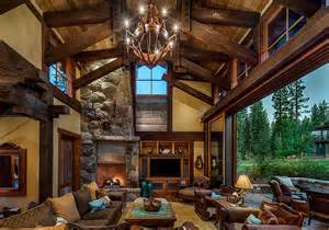 Indoor Stone Fireplace stunning cabin retreat brings rustic texan charm to lake tahoe