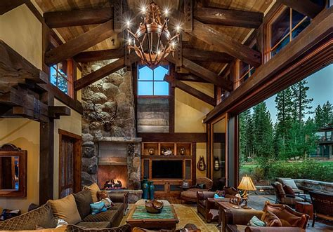 mountain homes interiors stunning cabin retreat brings rustic texan charm to lake tahoe