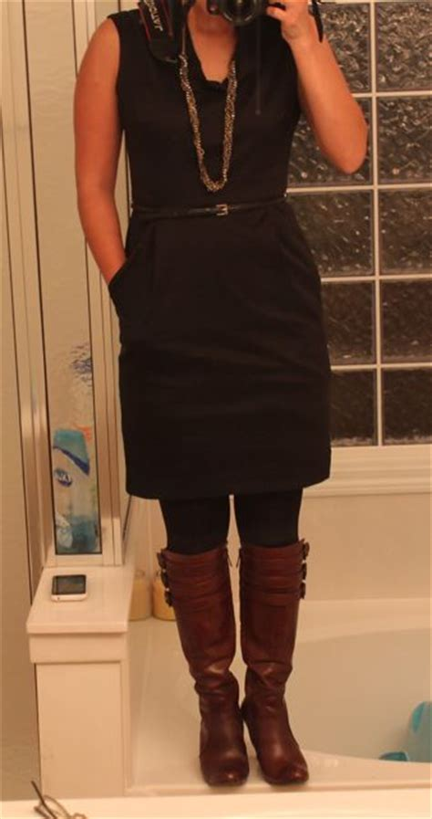 black dress black tights brown boots purseforum