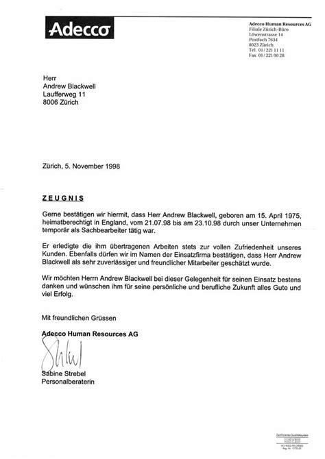 Letter Of Recommendation In German german business letter format sle business letter