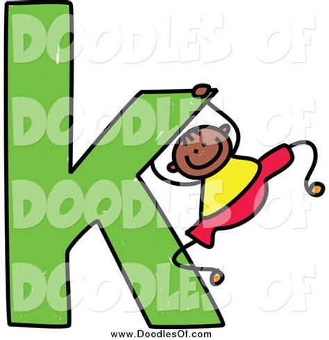 K Letter Doodle vector clipart of a doodled black boy swinging on a