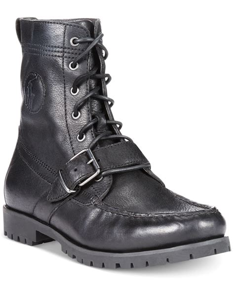 black polo boots polo ralph ranger boots in black for lyst
