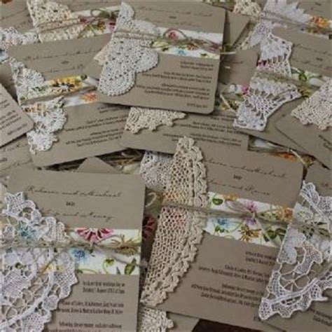 vintage wedding invitations with crochet and lace doilies