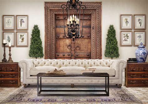 Eclectic Living Room Design with Chesterfield Sofa
