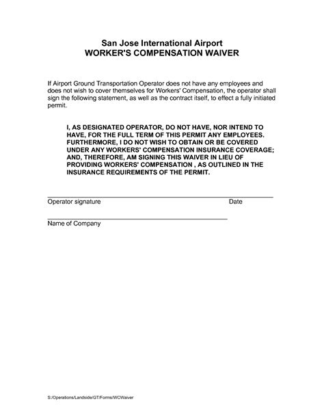 best photos of workers comp waiver form workers compensation waiver form workers