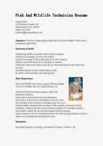 Fish And Wildlife Technician Sle Resume by Resume Sles Fish And Wildlife Technician Resume Sle