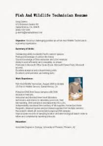 Wildlife Technician Sle Resume by Resume Sles Fish And Wildlife Technician Resume Sle