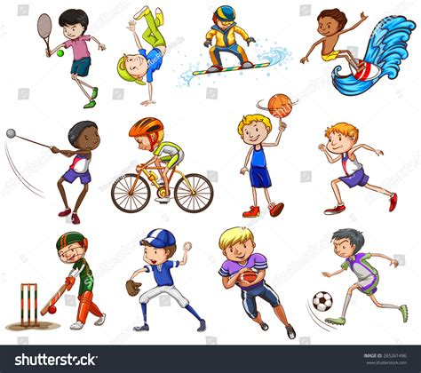 set of boys different kinds of sports stock vector