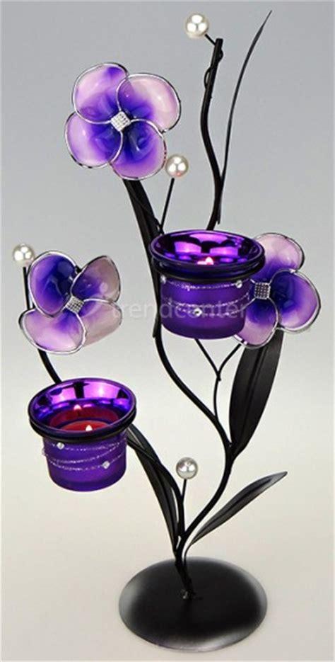 kerzenhalter blume deko teelichthalter blume 38cm lila kerzenhalter metall
