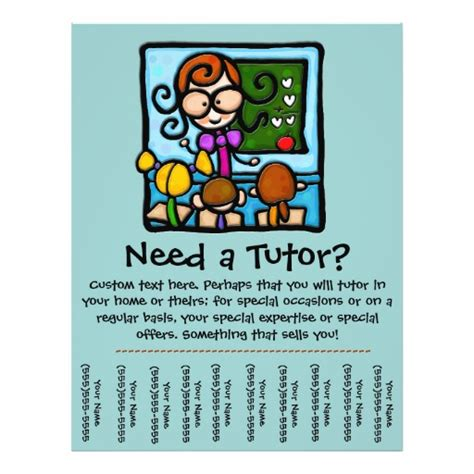 free tutoring flyer template tutor promotional tear sheet flyer zazzle