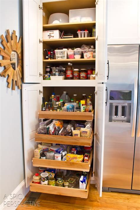 sliding shelves perspective and pull out pantry on