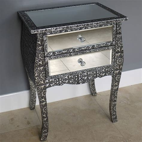 skinny bedside table venetian style mirrored narrow bedside table uk candle