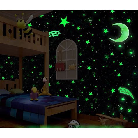 glow in the jakarta stiker dekorasi bintang glow in 3cm 50 pcs