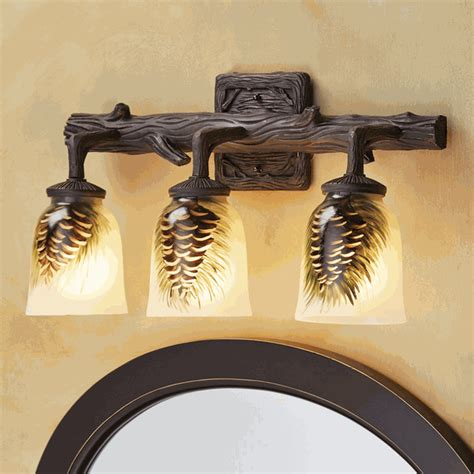Rustic Lamps: Painted Glass Pine Cone 3 Light Vanity Light