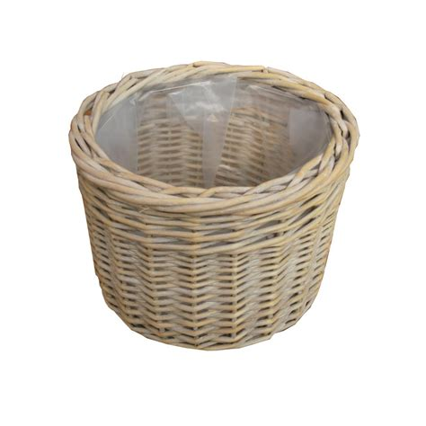 provence white wash wicker plant pot